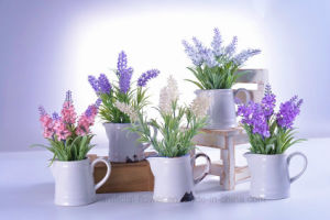 Artificial Charming Lavender Flower in Ceramic Pot for Home Office Decoration