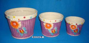 Set of 3 Hand-Painted Ceramic Garden Pots pictures & photos