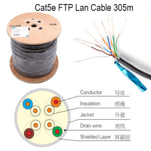 UTP Cat5e LAN Cable Yellow 0.45mm CCA 305m/Roll pictures & photos