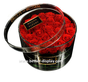 Custom Balck Acrylic Gift Flower Box with Printing Logo pictures & photos