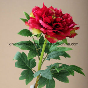 Large-Sized Single Stem Fake Peony Artificial Flowers with 3sets of Leaves pictures & photos