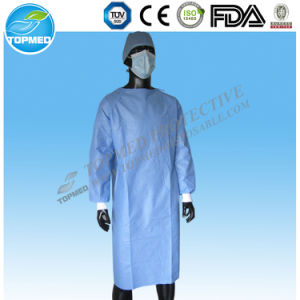 Ce and FDA Certificated Disposable White Isolation Gown, Visitor Gowns pictures & photos