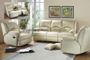 Lifestyle Real Top Leather Sofa, Loveseat, Chair with Drop Down Table, 5 Recliners pictures & photos