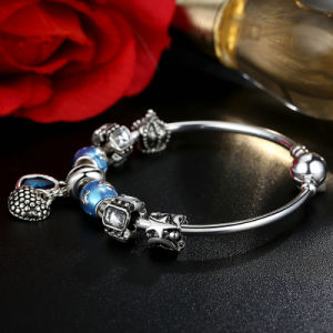 Mother Gift Charm Bracelets Heart Pendant & Blue Beads Love Bangles pictures & photos