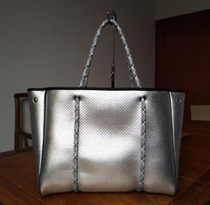 Matallic Siver Perforated Neoprene Lady Fashion Tote Handbag pictures & photos