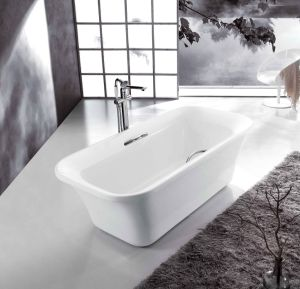 Free Standing Acrylic Bathtub with Grip Bar By1833 pictures & photos