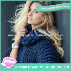 Acrylic Wool Hand Knitted Woollen Women Oversized Sweater pictures & photos