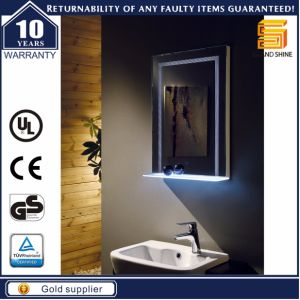 Decorative Wall Mounted Bathroom LED Lighted Backlit Mirror with Shelf pictures & photos