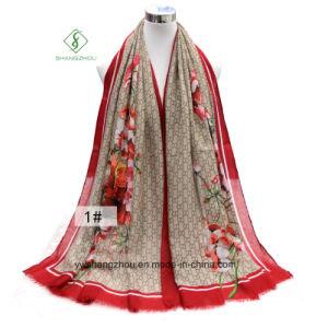 Fashion Lady Scarf Geranium Printed Satin Silk Shawl pictures & photos