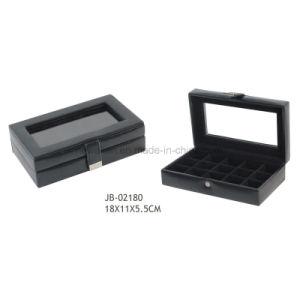 Handmade Black Leather Glasses Window Cufflink Storage Box Cufflink Box pictures & photos