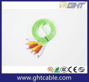 Transparent Green 3RCA to 3RCA AV Cable pictures & photos