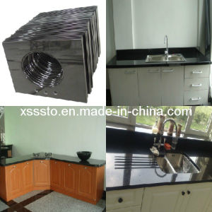 Polished Black Granite Marble Engineered Kitchen Countertop/Vantity Tops pictures & photos