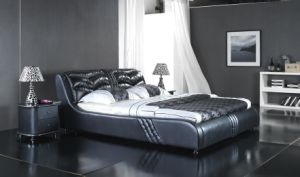 Modern Europe Leather Double Soft Bed (6067) pictures & photos