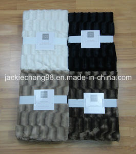 Bamboo Pattern Brushed PV Fleece+Micro Mink Throw for Adult pictures & photos