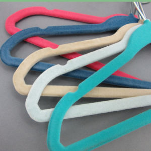 Hh Brand Sh2817 Hot Sale Velvet Flocked Children Hanger, Wholesale Plastic Kids / Baby Coat Hanger Hangers for Jeans pictures & photos