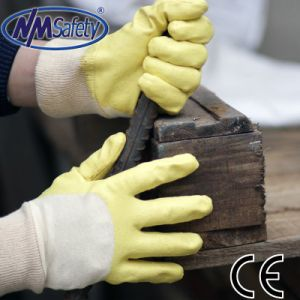 Nmsafety Cotton Interlock Yellow Nitrile Coated Working Glove pictures & photos