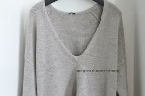 100%Cashmere Deep Vee Neck Pullover Knit Ladies Sweater pictures & photos