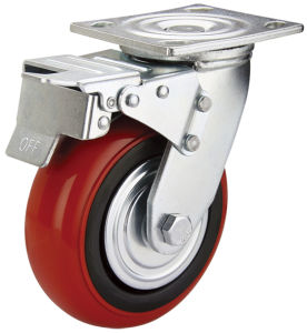 4-8 Inch PU Heavy Duty Industrial Caster (HE-A-100-QBR)