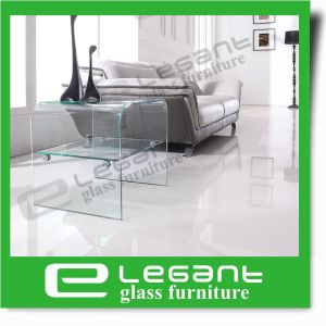 Bent Glass Box Coffee Table with Wheels pictures & photos