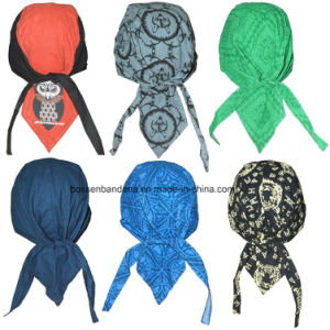 Custom Made Logo Printed Cotton Promotional Dew Rag Biker Sports Headwraps Doo Rag pictures & photos
