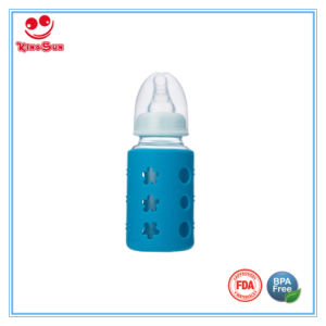 Standard Neck Glass Baby Bottle with Silicone Protective Sleeve pictures & photos