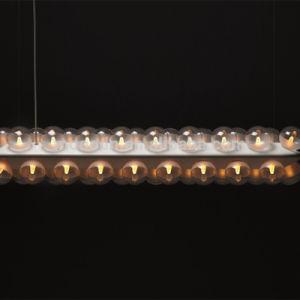 Modern Art Residence Decoration Clear Rectange Glass Bulb LED Pendant Lamp for Hotel