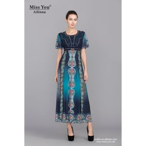 Miss You Ailinna 101974-1 Long Smooth Printed Floral A-Line Dress Manufacturer pictures & photos