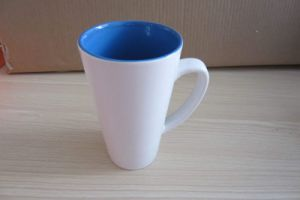16oz V-Shaped Two Tone Color Glazed Ceramic Tea Cup (WSY862M)