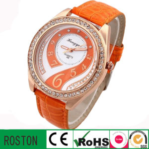 Alloy Case Water Resistant Lady Diamond Watch