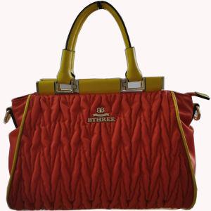Fashion Women Nylon with Leather Handbag /China Wholesale (BS12016)