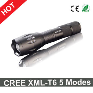 Hot Sale CREE Xml-T6 LED Flashlight 5 Modes Zoomable Torch Light pictures & photos