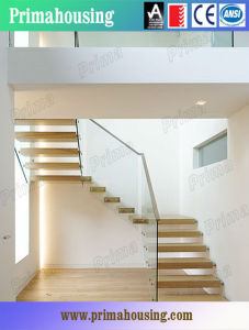 Indoor Tempered Glass Staircase with Wood Tread pictures & photos