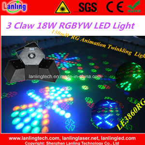 3 Claw 18W Rgbyw UFO LED Twinkling Laser Light (LE3860RG) pictures & photos