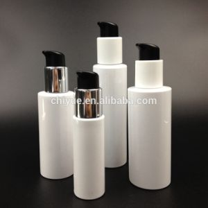 High Quality 100ml 120ml 200ml Glossy White Plastic Bottles with Aluminum Pump