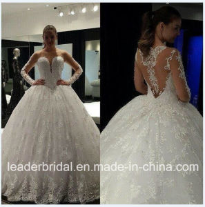 Illusion Sleeves Wedding Dress Lace Vestidos Bridal Ball Gown WD152121 pictures & photos