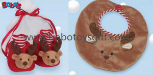 Plush Reindeer Baby Booties and Bib Gift Set Bows1111 pictures & photos