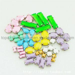Resin Neon Sew on Flat Back Stones Fluorescence Rhinestone Button pictures & photos