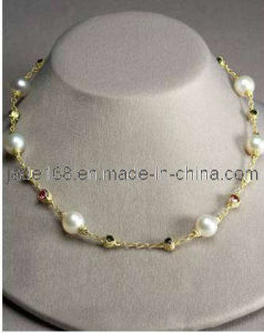 18k Yellow Gold Pearl Precious Stone Necklace (GFPN-008)