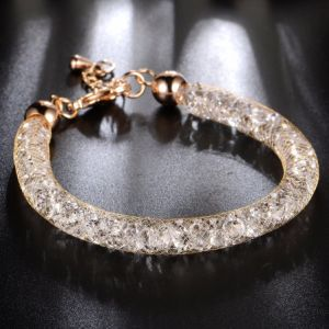 Fashion Jewelry Stainless Steel Gold Plated Mesh Crystal Bracelet pictures & photos