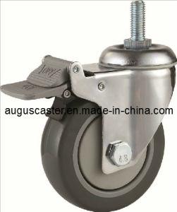 Medium Duty/304 Stainless Steel Thread Stem with Plastic Brake Grey TPR