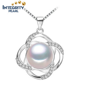 AAA Fashion Freshwater Pearl Pendant 9-10mm Semi Round White Pearl Pendant Necklace