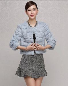 Women′s Winter Warm Rabbit Fur Short Coat Simple Fashion Style pictures & photos