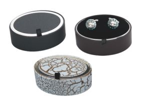 Round Plastic Cufflink Box Black Colour
