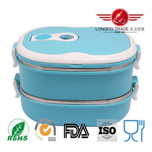 Oval Stainless Steel Thermal Lunch Box with Lock pictures & photos