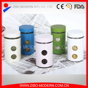Stainless Steel Multicolor Coating Glass Food Jar with Lid pictures & photos