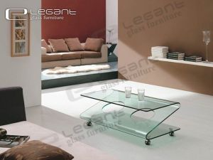 "Coffee Table - "" Z "" Shape Design, Curved Glass With Wheels -CB070 pictures & photos"