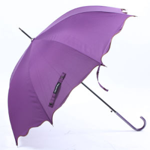 Auto Open Pure Edged Curved Handle Straight Umbrella (BD-74) pictures & photos