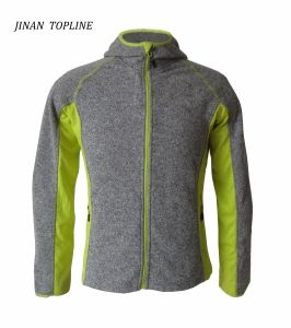 Men Hoodies Cationic Coarser Knitted Jacket Stitching-Color Sports Wear pictures & photos