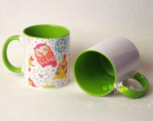 11oz Light Green Ceramic Inner & Rim Color Mug pictures & photos