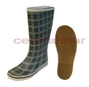 Fashion Women s Knee High Plaid Rubber Rain Boots (LRB021) - China